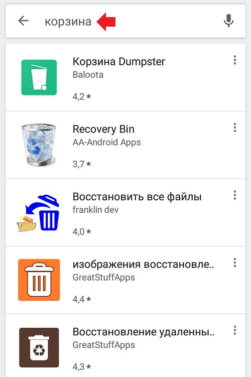 Как называется корзина на Андроиде